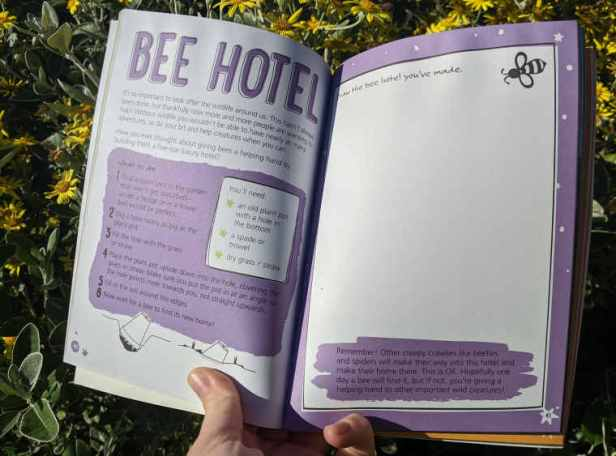 Double page spread of childrens outdoor adventure book showing how to make a bee hotel