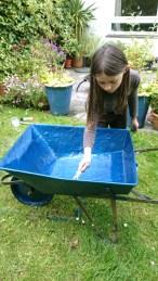 girl-painting-blue-wheelbarrow-in-garden