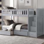 Belden Twin Over Twin Bunk Bed Grey White Natural Dark Cherry Kids Furniture In Los Angeles