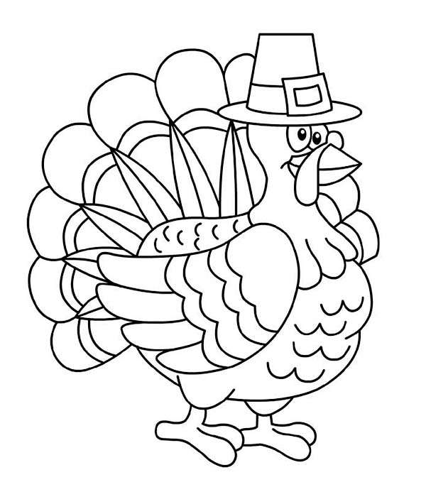A Fat Thanksgiving Day Turkey On Pligrim Custome Coloring Page Kids Play Color