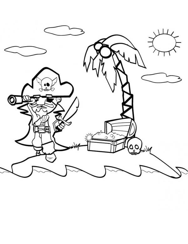 Pirate Find Gold With Treasure Map Coloring Page Kids Play Color
