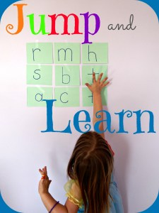 Add a multi-sensory approach to learning with this jump and learn game! Teach letters, numbers, shapes, colors, or spelling words with this whole body learning activity.