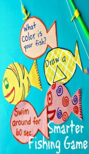 This smarter fishing game that teaches academics like letters, numbers, shapes, or colors, and, gross motor & fine motor skills,, and social skills in a fun game for kids!