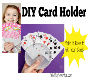 DIY card holder makes holding playing cards simple! This is perfect for kids and also those with arthritis, tremors, and limited hand strength. Don't miss out on another game of cards!