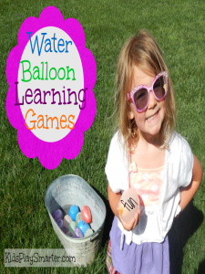 Play water balloon games with an educational twist. Perfect for children who are learning spelling words, numbering, order, and size comparisons.