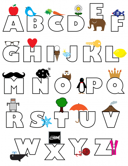 simple coloring page alphabet