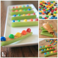 M&M Celery Boats Rainbow Snack for Kids