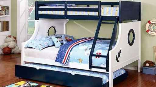 """Buddy The Sailor"" Blue Twin Full Bunk Bed with Trundle"