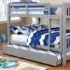 Grey Full over Full Bunk Bed with Trundle- kidsroom.vip