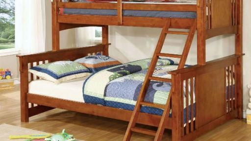 """Lucky Lake House"" Oak Twin XL over Queen Bunk Bed – 3 Colors!"