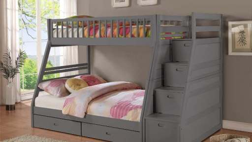 """""""Noble Nala"""" Grey Twin Full Staircase Bunk with Trundle Drawers"""