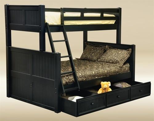black Angel Twin Full Bunk Bed with Storage - kidsroom.vip