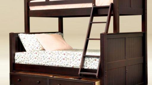 walnut Angel Twin Full Bunk Bed with Storage - kidsroom.vip
