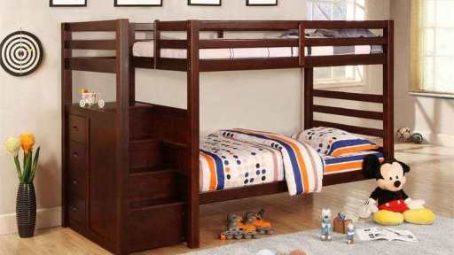"""Sunny Scooter"" Espresso Twin Over Twin Bunk Bed w/ Trundle"