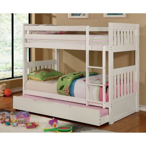 Twin Over Full White Bunk Bed Collection-kidsroom.vip