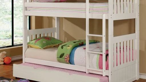 """Victoria Secret"" Twin over Twin White Bunk Bed Collection"