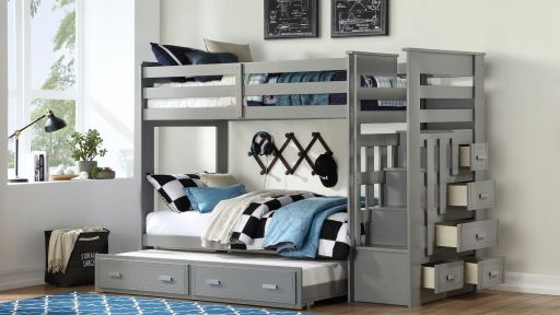 """""""Famous Squirrel"""" Gray Twin over Twin Bunk Bed w/ Staircase Storage and Trundle"""