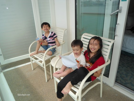 The kids relaxing at the Balcony