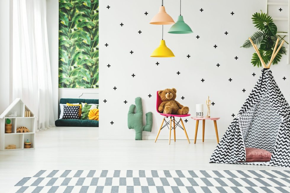 Scandi kids room with teepee