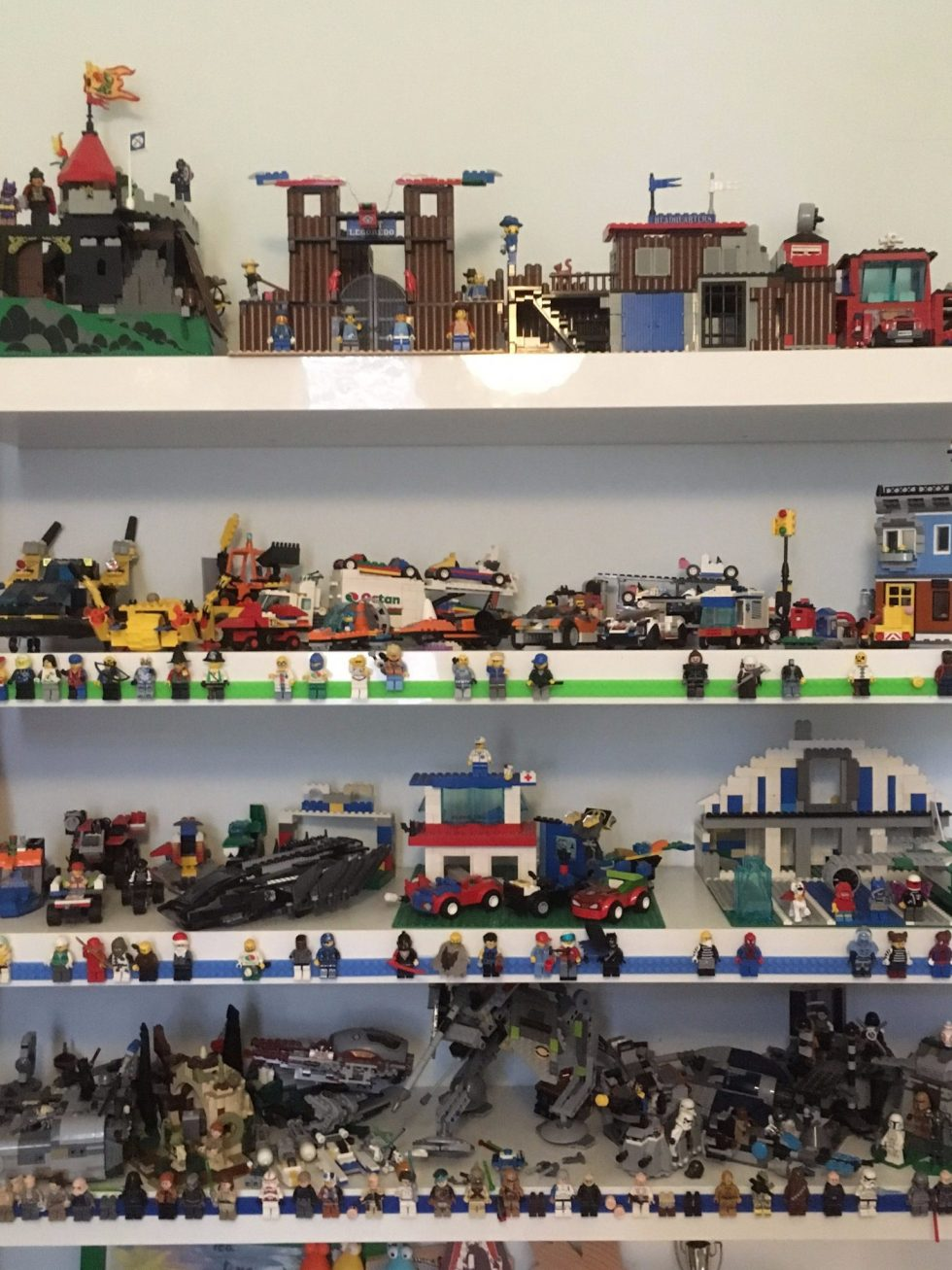 Our LEGO shelves with LEGO tape
