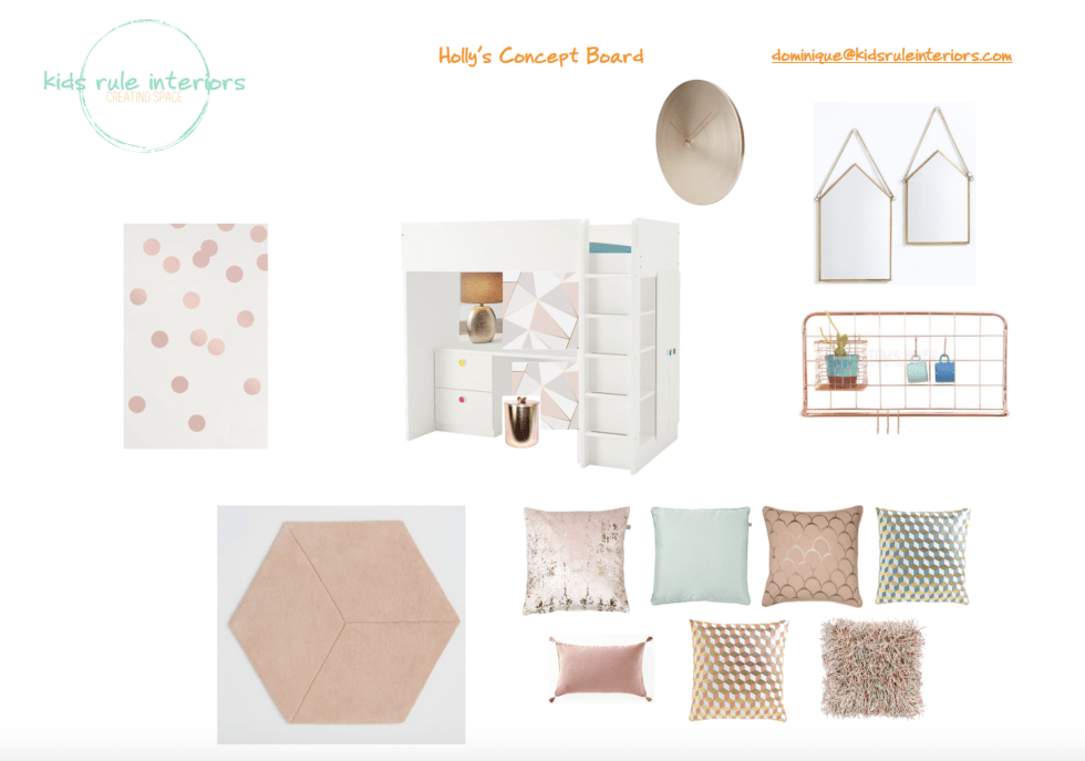 Glamorous and cosy blush pink and gold tween room concept