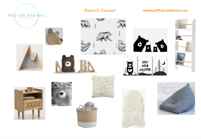 Monochrome woodland bear theme toddler room concept