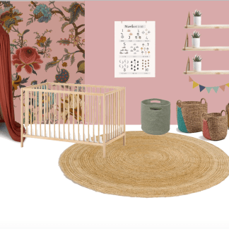3d moodboard for blush pink baby girl nursery