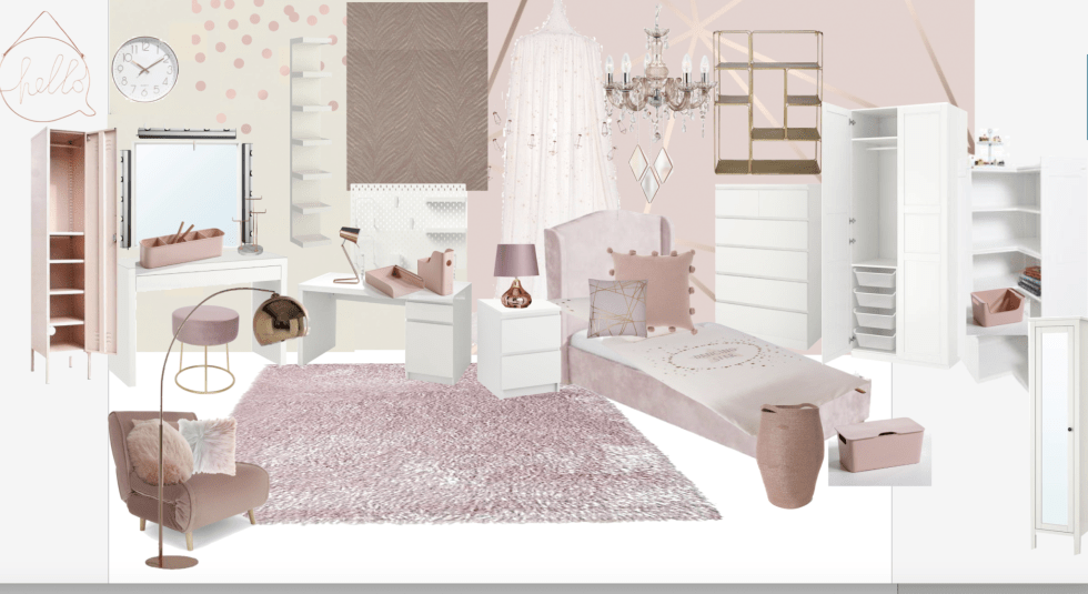 A glamorous pink girl's bedroom with copper accents