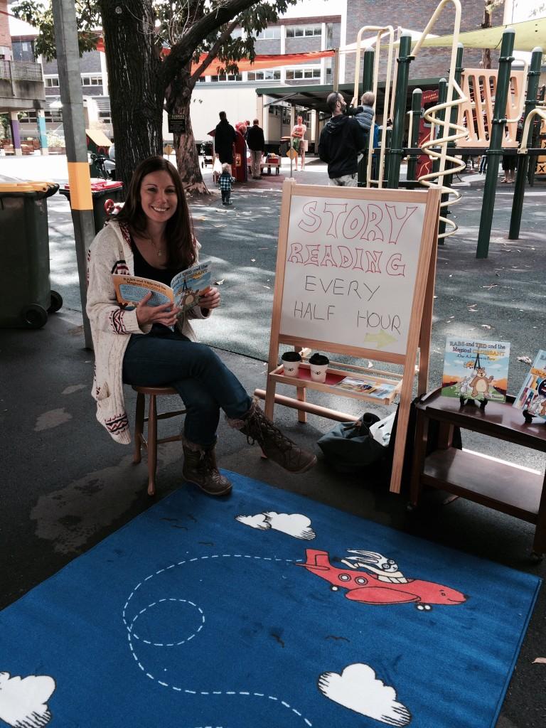 Sally Bennett reading books to her fans. Photo Credit: Sally Bennett