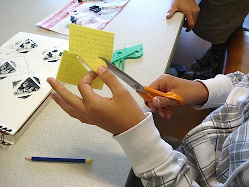 Cutting the Sponges for Adinkra- Kid World Citizen