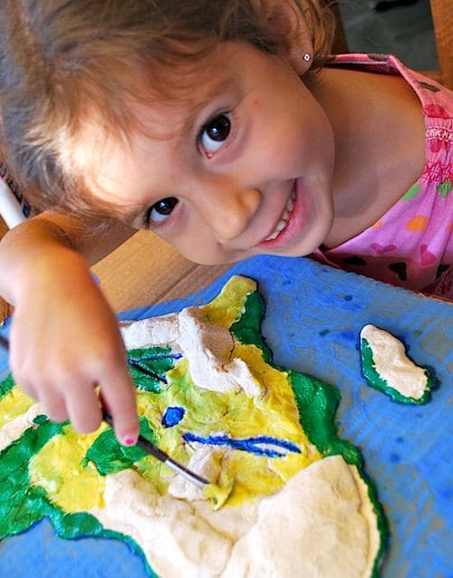 Kids Painting 3D Salt Dough Maps- Kid World Citizen