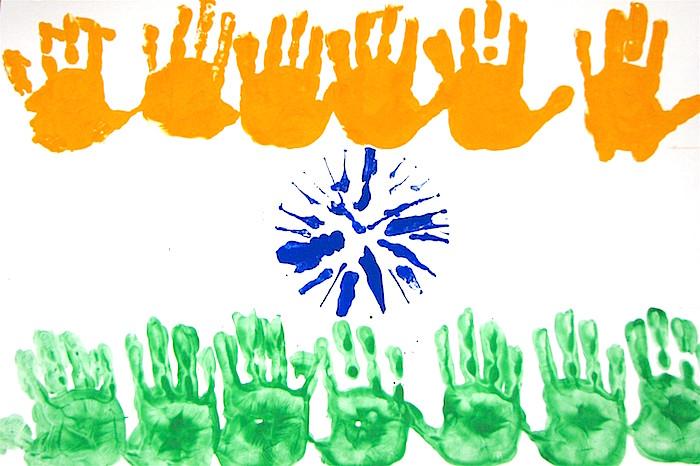 Handprints India Flag- Kid World Citizen