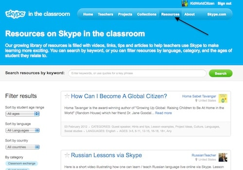Resources on Skype in the Classroom- Kid World Citizen