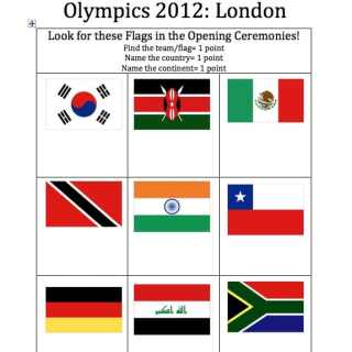 Flag Bingo/Scavenger Hunt for the Olympics Opening Ceremony