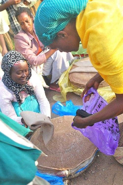 Ethiopia woman selling injera- Kid World Citizen