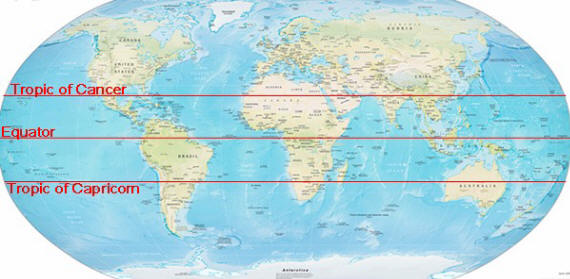 World map with equator blank world map with equator and tropics timekeeperwatches gumiabroncs Choice Image