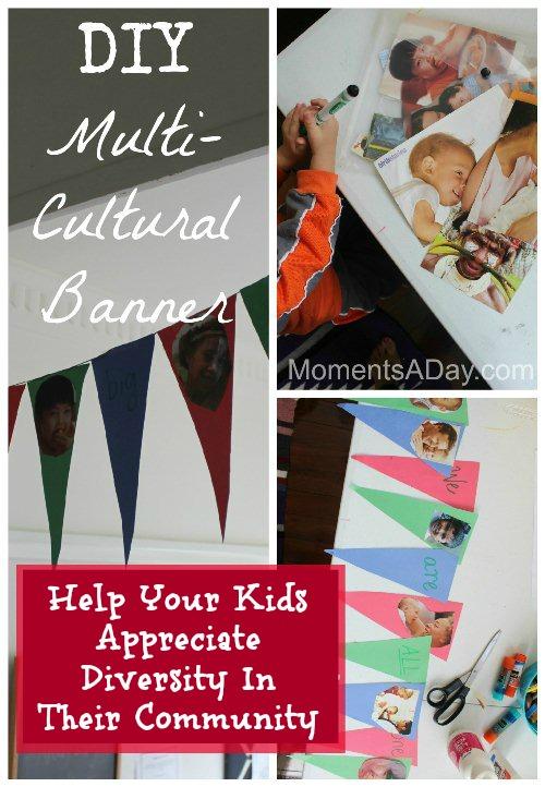 DIY Multicultural Banner- Kid World Citizen