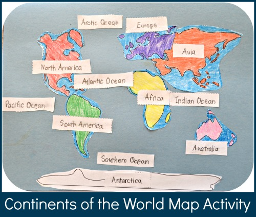 Continents Of The World Map Activity Geography For Kids - World map oceans continents