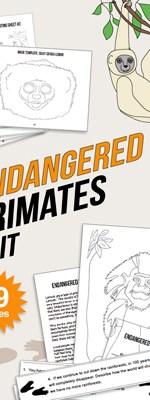 Endangered species unit endangered primates reading math science kids