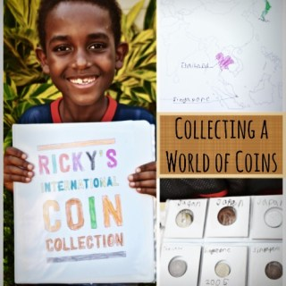 """For Christmas this year, my awesome sister made up a """"world of coins"""" binder for my 7 year old."""