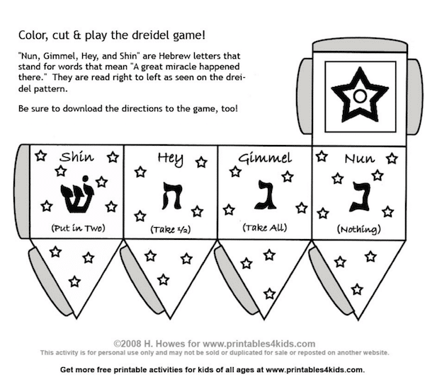 What is a dreidel printable for kids- Kid World Citizen