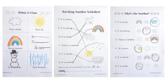 Bilingual Activities Weather Lesson Plan- Kid World Citizen