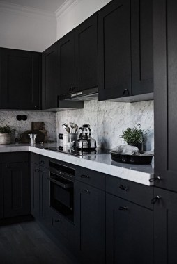 16 How To Decorate With Stylish Black Kitchen Cabinets 03