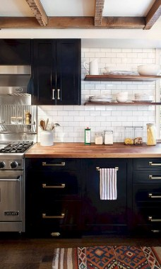 16 How To Decorate With Stylish Black Kitchen Cabinets 12