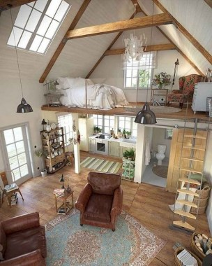20 Office Attic Converted Into Loft Apartment Keeping Original Wood And Brick 07