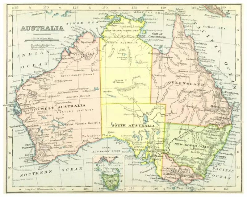 australia facts for kids - australia country map