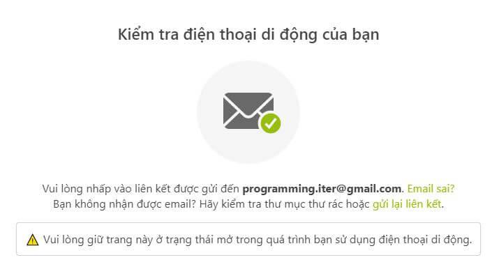 Thông báo yêu cầu bạn vào email trên điện thoại di động