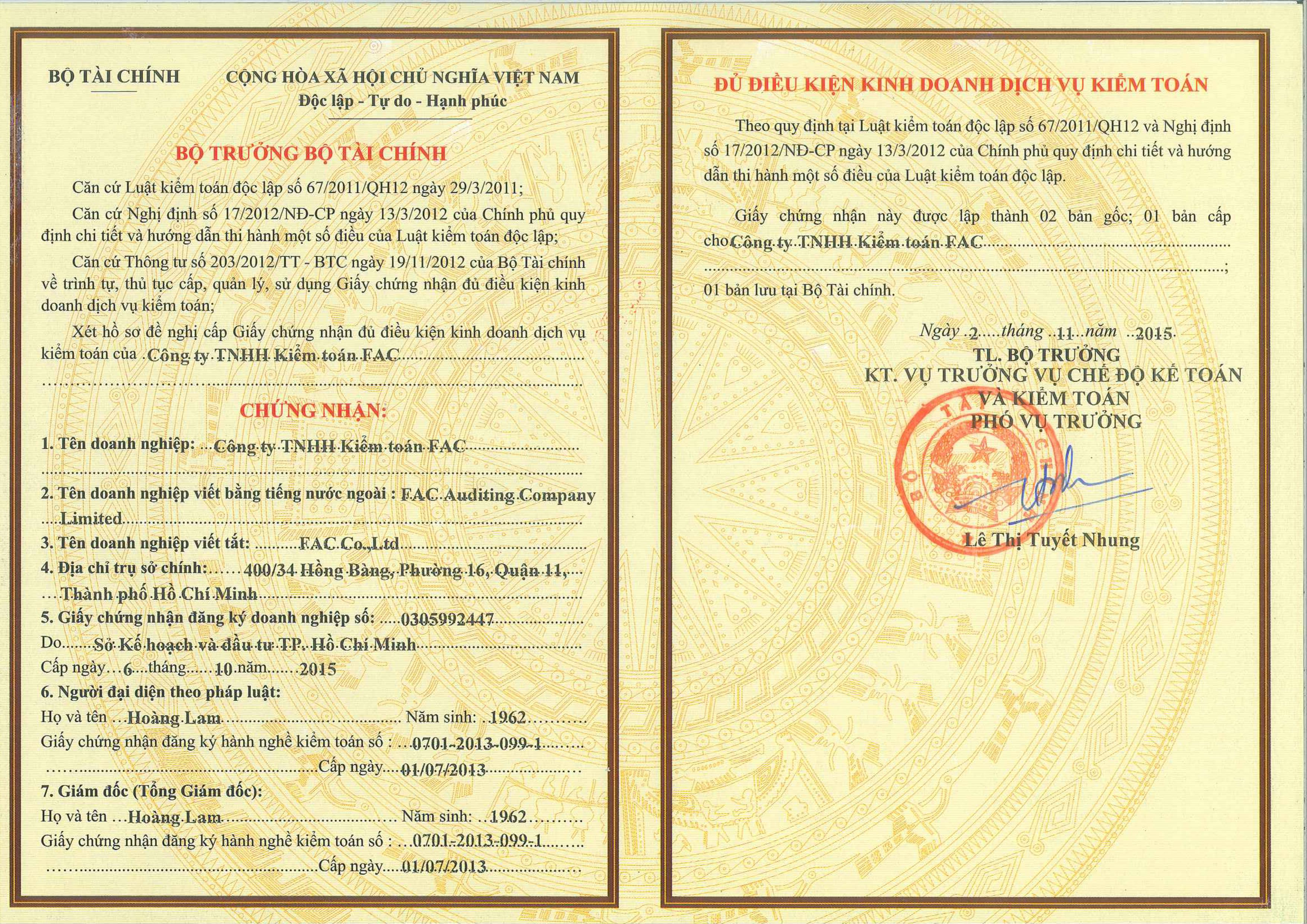 Certificate Of Business Registration Cong Ty Tnhh Ki M Toan Fac