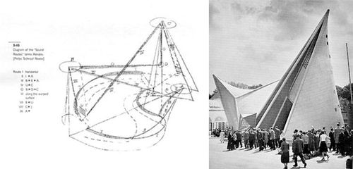 Philips Pavilion at the Brussells 1958 Worlds Fair designed by Iannis Xenakis for Le Corbusier