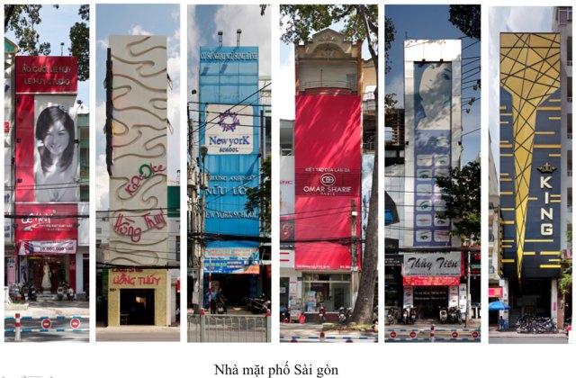 """Tác phẩm trong triển lãm """"Nhà Mặt phố"""" của họa sĩ Nguyễn Thế Sơn: tác phẩm lấy minh họa từ các biển quảng cáo trên các ngôi nhà: các biển quảng cáo này đáp ứng các quy định của ngành Văn hóa và Xây Dựng- nhưng ta không thể nhận ra các ngôi nhà trên phố và các con phố ở Hà Nội? Sài Gòn? Đà Nẵng hay một thành phố ở bất cứ nơi nào khác trên thế giới – Một con phố của thời """"Toàn cầu hóa"""" – văn hóa bản địa không còn tồn tại?"""